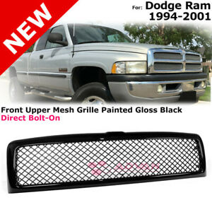 Black Glossy Front Bumper Upper Grille Trim For 94 01 Dodge Ram Mesh Style Grill