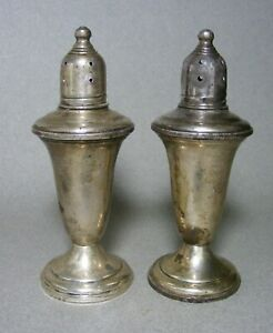 Vintage Empire Sterling Silver Weight Salt Pepper Shakers Smooth Rim