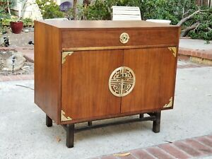 Kalpe Of California Mid Century Asian Walnut Campaign Style Chest Buffet Server