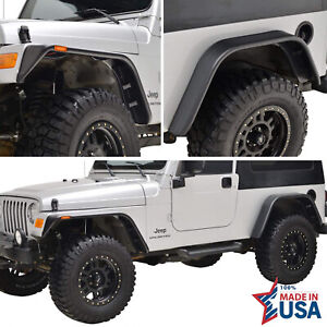 Eag Fit 97 06 Jeep Wrangler Tj 4pcs Flat Style Abs With Side Led Fender Flares