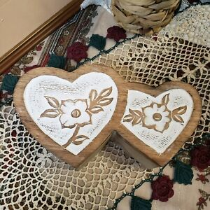 Hand Carved Heart Wooden Jewelry Box Painted White Flowers Stash Trinket Holder