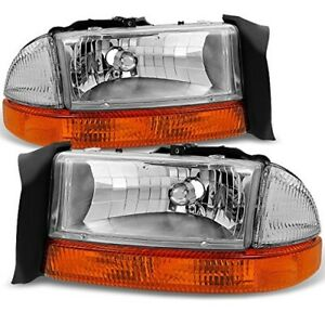 New Signal Chrome Headlight Pair For 1997 1998 1999 2000 2004 Dodge Dakota