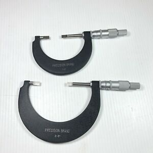 2 Precision Brand 1 2 2 3 Blade Micrometers Great Condition Made In Usa
