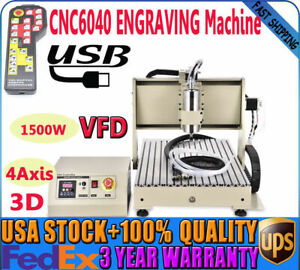 1500w Usb 4axis 6040 Cnc Router Engraving Drilling Carving Machine 3d Spindle Us
