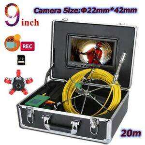 20m Sewer Pipe Pipeline Drain Inspection 9 Lcd Video Recording Camera 8gb Dvr