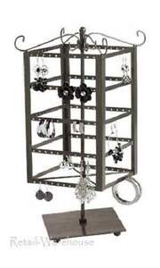 Jewelry Countertop Rack 5 Tiered 9 H Rotating Spins Metal Earring Display