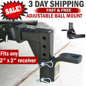 Dual Ball Mount Drop Adjustable Hitch Receiver Tow Truck Rv Trailer Car Camper
