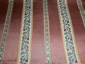 Vintage French Floral Stripe Satin Lisere Brocade Jacquard Fabric Rose Green