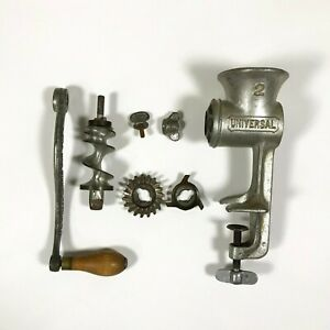 Vintage Universal No 2 Food Chopper Meat Grinder Lfc Hand Crank Wood Handle