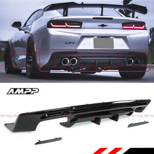 For 2016 19 Chevy Camaro Gloss Blk Rear Bumper Diffuser Smoked Reflector Lens