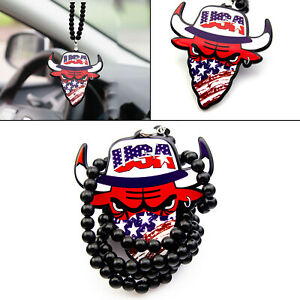 Car Rearview Mirror Hanging Pendant Rock Abs Acrylic Usa Bull Necklace Decor