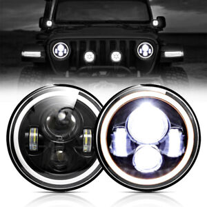Pair 7 Inch 300w Led Headlights Halo Angle Eye For Jeep Wrangler Cj Jk Lj 97 18