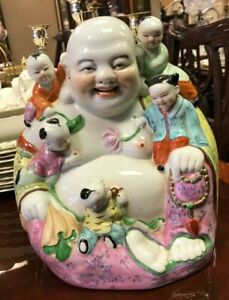 Chinese Porcelain Happy Buddha With Five Children Jingdezhen Marked