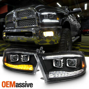 Fit Dodge Ram 09 18 1500 2500 3500 Black Led drl Dual Projector Headlights Lamps
