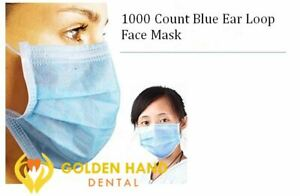 1000 Count Disposable Ear Loop Face Mask 3 ply Medical With Bendable Nose Bar