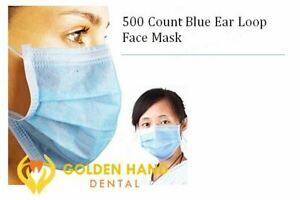 500 X Disposable Ear Loop Face Mask 3 ply Medical With Bendable Nose Bar New
