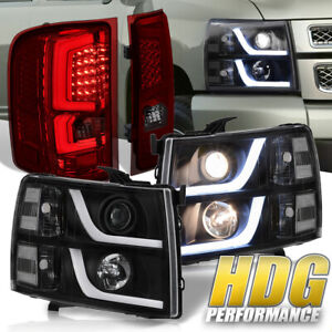 Black Led Headlights Smoked Red Led Tube Tail Lights For 07 13 Chevy Silverado