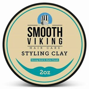 Smooth Viking Hair Clay Hairstyles For Men Pliable Molding Cream Pomade 2 Ounce
