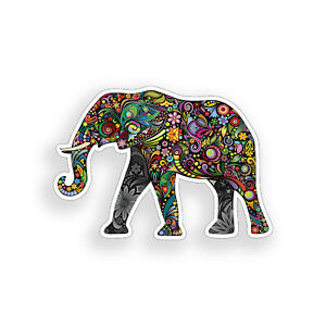 Colorful Flower Elephant Sticker Floral Laptop Car Vehicle Window Bumper Decal