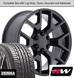 22 X9 Inch Wheels And Tires For Chevy Tahoe Replica 5656 Gloss Black Rims