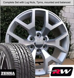 22 X9 Inch Wheels And Tires For Chevy Suburban Replica 5656 Silver Machined Rims
