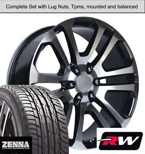 22 X9 Inch Gmc Sierra 1500 Ck158 Wheels Black Machined Rims Tires Fit Avalanche