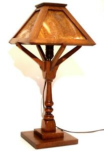 Vintage Arts And Crafts Mission Oak Table Lamp Slag Glass