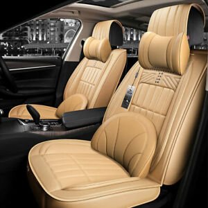 Car Suv Seat Cover Leather Steering Wheel Cover Front Rear Luxury Cushion Set