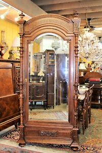 French Antique Walnut Louis Xvi One Door Armoire With 4 Shelves 1880