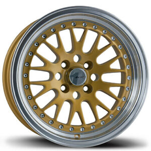 Avid1 Av12 15x8 Rims 4x100 25 Gold Wheels new Set