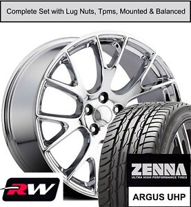 20 X9 Inch Dodge Charger Srt Hellcat Replica Wheels Tires Tpms Chrome Rims