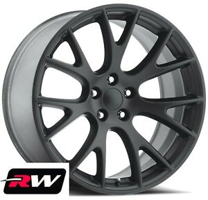 22 In For Chrysler 300 Aftermarket Staggered Wheels Hellcat Matte Black Rims Rw