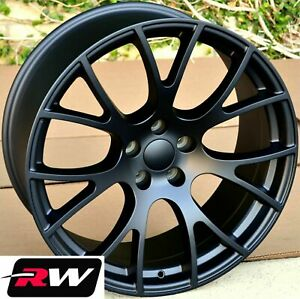 20 For Dodge Challenger Hellcat Style Wheels Matte Black Staggered Rims