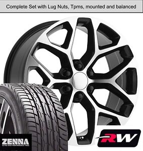 22 Inch Wheels And Tires For Chevy Avalanche Replica Ck156 Black Machined Rims