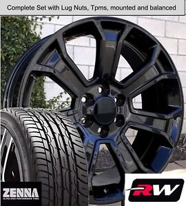 20 X9 Inch Wheels And Tires For Chevy Suburban Replica 5665 Gloss Black Rims