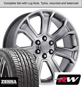 20 X9 Inch Wheels And Tires For Chevy Avalanche Replica 5665 Hyper Silver Rims