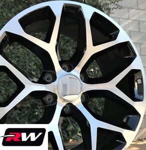 24 Inch 24 X10 Rw 5668 Wheels For Chevy Tahoe Machined Black Rims Set
