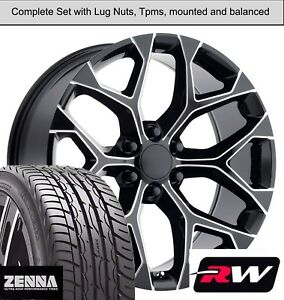 20 X9 Gmc Sierra Snowflake Style Wheels Black Milled Rims Tires Fit Suburban
