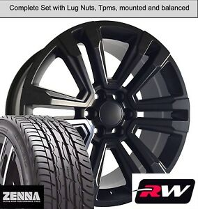 20 X9 Inch Wheels And Tires For Chevy Suburban Replica 5822 Satin Black Rims
