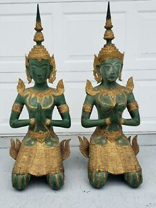 Pair Bronze Thai Angels Teppanom Male Female Over 3ft Tall