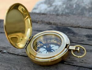 Nautical Solid Brass 2 Push Button Compass Vintage Directional Gift Compass