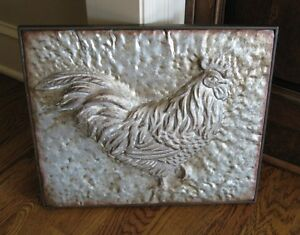 Embossed Galvanized Metal Rooster Primitive French Country Urban Farmhouse Decor