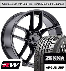 20 Charger Srt Widebody Replica Staggered Oe Wheels Tires Tpms Gloss Black Rims