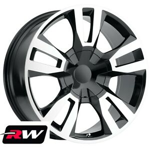 22 Inch 22 X9 Rw Tahoe Rst 2018 Wheels For Chevy Truck Black Machined Rims Set