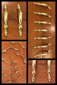 7 Handles Polished Brass Colonial Pulls Arch Cabinet Drawer English Vintage