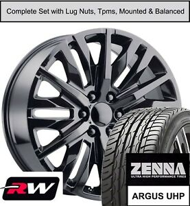 20 X9 Inch Wheels And Tires For Chevy Tahoe Replica 2019 Denali Gloss Black Rims