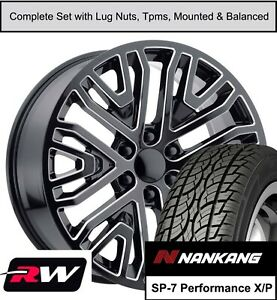22 Wheels And Sp7 Tires For Chevy Tahoe Replica 2019 Gm Accessory Black Milled