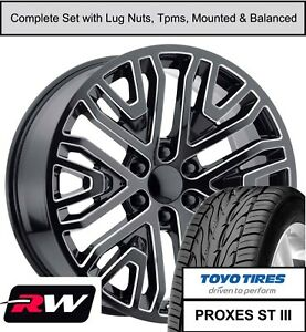 22 Wheels And Toyo Tires For Escalade 2019 Accessory Replica Black Milled Rims
