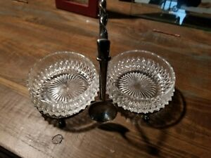 Antique Silver Plated Lead Crystal Serving Dishes W Spoon
