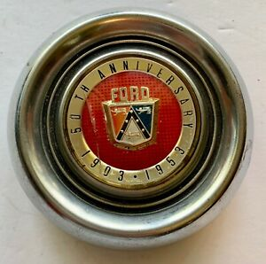 Vintage Ford 50th Anniversary 1903 1953 Steering Wheel Horn Button Chrome